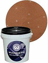 Wanders24 Glimmer-Optik (1 Liter, Gold-Dunkelbraun) Glitzerfarbe, Glitzer Wandfarbe, Glitzereffekt, Wand-Farbe, Effektfarbe, Strukturfarbe, Glimmer, Glitter, glitter pain