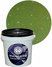 Wanders24 Glimmer-Optik (1 Liter, Gold-Grün) Glitzerfarbe, Glitzer Wandfarbe, Glitzereffekt, Wand-Farbe, Effektfarbe, Strukturfarbe, Glimmer, Glitter, glitter pain