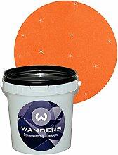 Wanders24 Glimmer-Optik (1 Liter, Gold-Orange) Glitzerfarbe, Glitzer Wandfarbe, Glitzereffekt, Wand-Farbe, Effektfarbe, Strukturfarbe, Glimmer, Glitter, glitter pain