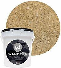Wanders24 Glimmer-Optik (1 Liter, Gold-Sand) Glitzer-Wandfarbe in 16 Farbtönen erhältlich, individuelle Gestaltung, Effektfarbe Made in Germany