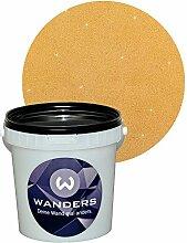 Wanders24 Glimmer-Optik (1 Liter, Gold-Sand) Glitzerfarbe, Glitzer Wandfarbe, Glitzereffekt, Wand-Farbe, Effektfarbe, Strukturfarbe, Glimmer, Glitter, glitter pain