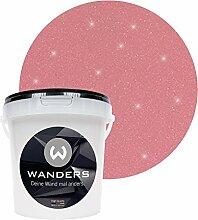 Wanders24 Glimmer-Optik (1 Liter, Silber-Altrosa) Glitzer-Wandfarbe in 16 Farbtönen erhältlich, individuelle Gestaltung, Effektfarbe Made in Germany