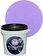 Wanders24 Glimmer-Optik (1 Liter, Silber-Flieder) Glitzerfarbe, Glitzer Wandfarbe, Glitzereffekt, Wand-Farbe, Effektfarbe, Strukturfarbe, Glimmer, Glitter, glitter pain