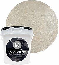 Wanders24 Glimmer-Optik (1 Liter, Silber-Sand) Glitzer-Wandfarbe in 16 Farbtönen erhältlich, individuelle Gestaltung, Effektfarbe Made in Germany