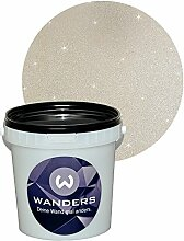Wanders24 Glimmer-Optik (1 Liter, Silber-Sand) Wand-Farbe Glitzer-Effekt Wandfarbe-Glitter