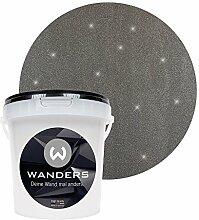 Wanders24 Glimmer-Optik (1 Liter, Silber-Schwarz) Glitzer-Wandfarbe in 16 Farbtönen erhältlich, individuelle Gestaltung, Effektfarbe Made in Germany