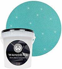 Wanders24 Glimmer-Optik (1 Liter, Silber-Türkis) Glitzer-Wandfarbe in 16 Farbtönen erhältlich, individuelle Gestaltung, Effektfarbe Made in Germany
