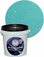 Wanders24 Glimmer-Optik (1 Liter, Silber-Türkis) Wand-Farbe Glitzer-Effekt Wandfarbe-Glitter
