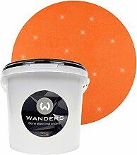 Wanders24 Glimmer-Optik (3 Liter, Gold-Orange) Glitzer-Wandfarbe in 16 Farbtönen erhältlich, individuelle Gestaltung, Effektfarbe Made in Germany