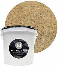 Wanders24 Glimmer-Optik (3 Liter, Gold-Sand) Glitzer-Wandfarbe in 16 Farbtönen erhältlich, individuelle Gestaltung, Effektfarbe Made in Germany