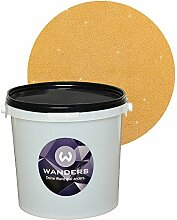 Wanders24 Glimmer-Optik (3 Liter, Gold-Sand) Glitzerfarbe, Glitzer Wandfarbe, Glitzereffekt, Wand-Farbe, Effektfarbe, Strukturfarbe, Glimmer, Glitter, glitter pain