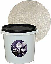 Wanders24 Glimmer-Optik (3 Liter, Silber-Sand) Wand-Farbe Glitzer-Effekt Wandfarbe-Glitter