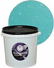 Wanders24 Glimmer-Optik (3 Liter, Silber-Türkis) Wand-Farbe Glitzer-Effekt Wandfarbe-Glitter