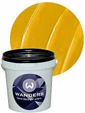 Wanders24 Metall-Optik (1 Liter, Gold) Effektfarbe, Wandfarbe, Metallic Wand, Glitzer Wandfarbe, Effekt Farbe, Wand Farbe, Wandfarbe Metallic, abwaschbar, Metall Effek