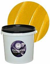 Wanders24 Metall-Optik (3 Liter, Gold) Effektfarbe, Wandfarbe, Metallic Wand, Glitzer Wandfarbe, Effekt Farbe, Wand Farbe, Wandfarbe Metallic, abwaschbar, Metall Effek