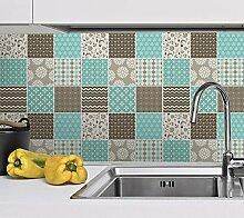 Wandfliesen Küche Braun Blau Farben Aufkleber