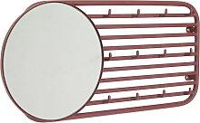 Wandgaderobe Hakenleiste Spiegel Ubbo rot