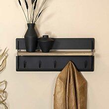 Wandgarderobe aus Stahl Hutablage aus Massivholz