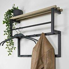 Wandgarderobe aus Stahl und Eiche Massivholz 10