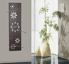Wandgarderobe, Design Flower, 140x40cm, silber inkl. 3 Kleiderbügel aus Edelstahl
