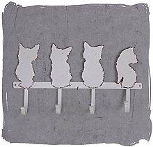 Wandgarderobe, Garderobenleiste, Haken, Garderobe, Hakenleiste zur Wandbefestigung mit niedlichen Katzen, Katzen-Motiv, stabile Fertigung aus Eisen, antike Optik mit schöner Oberfläche im Shabby-Chic - Palazzo Exclusive