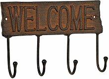 Wandgarderobe Hakenleiste Garderobe 4 Haken Metall Eisen Antik- braun Welcome