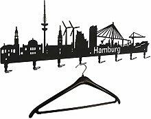 Wandgarderobe - Hamburg Skyline - Flurgarderobe 80