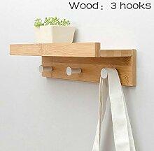 Wandgarderobe Holzgarderobe mit Metallhaken und