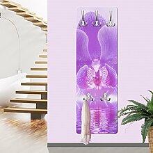 Wandgarderobe Lila Orchidee auf Wasser Garderobe Garderobenpaneel Kleiderhaken Flurgarderobe Hakenleiste Holz Standgarderobe Hängegarderobe, Größe HxB: 139cm x 46cm