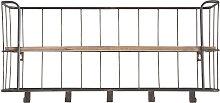 Wandgarderobe Metall Grau und Holz 85 cm