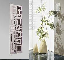 Wandgarderobe mit LED, Design 66: Quadrat, 140x40cm, weiß mit LED-Beleuchtung