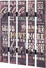 Wandgarderobe mit Schriftzug Braun Bunt
