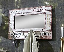Wandgarderobe mit Wandspiegel und 4 Haken in Vintageoptik; Maße (B/T/H) in cm: 80 x 10 x 52