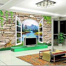 Wandgemälde, 3D-Tapete, Fenster, Backsteinmauer