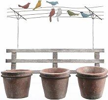 Wandhänger Übertopf Pflanztopf Wanddeko Gartendeko Übertöpfe mit Gartenzaun und Wäscheleine mit Vögel