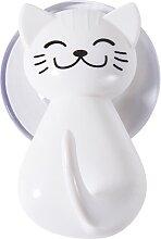 Wandhaken mit Saugnapf Katze 2er-Set, weiß