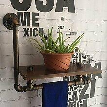 Wandhalterung Regal Wand Dekorationen LOFT Wasserpfeife Bad Handtuchstangen Do Old Iron Holzwand Bücherregal Regale Wandregale ( Farbe : Metallic )
