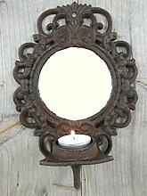 Wandkerzenhalter aus Gusseisen mit Spiegel -