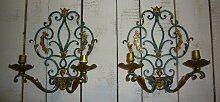 Wandkerzenhalter aus Schmiedeeisen mit Vergoldeten