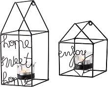 Wandkerzenhalter House (2-tlg. Set), schwarz