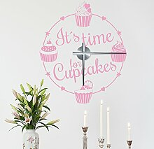 "Wandkings ""It´s time for Cupcakes"" Wanduhr Wandtattoo (Farbe: Uhr=Silber, Aufkleber=Hellrosa)"