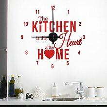 "Wandkings ""The kitchen is the heart of the home "" Wanduhr Wandtattoo (Farbe: Uhr=Schwarz, Aufkleber=Rot)"