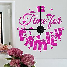 "Wandkings ""Time for Family"" Wanduhr Wandtattoo (Farbe: Uhr=Schwarz, Aufkleber=Pink)"