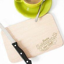 """Wandkings Frühstücksbrettchen mit Gravur """"Beste Schwester der Welt"""" – aus Holz – 22 x 14,5 x 1 cm"""