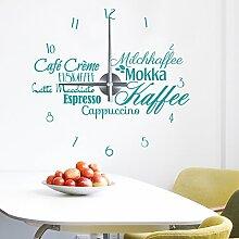 WANDKINGS Kaffeespezialitäten Wanduhr Wandtattoo (Farbe: Uhr=Silber, Aufkleber=Türkis)