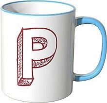 Wandkings® Tasse, Buchstabe: P - BLAU