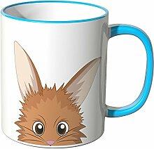 Wandkings® Tasse, Karikatur: süßes Häschen mit gespitzten Ohren - BLAU