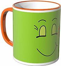 Wandkings® Tasse, Motiv: lustiges Gesicht - SMILE - ORANGE