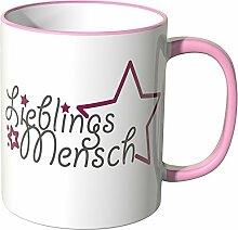 Wandkings® Tasse, Schriftzug: Lieblingsmensch mit Sternchen - ROSA