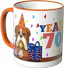 Wandkings® Tasse, Schriftzug: YEAH 70 mit süßem Hund - ORANGE
